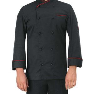 chaqueta-cocinero-negra-raya-roja